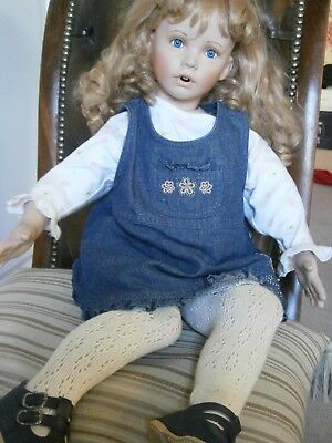 Large Vintage Porcelain Doll with cloth body Stamped AB-26A Blonde Curls
