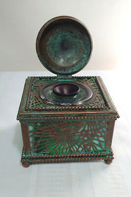 Tiffany Studios, Pine Needle Lg Inkwell, Grn Glass-Patina, Beaded Border, Nice~~