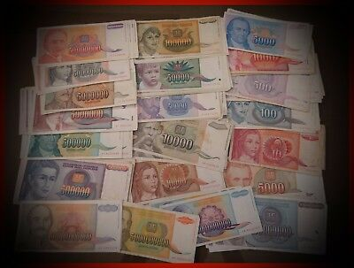 Yugoslavia LOT 100 Dinar banknotes 22 different HYPERINFLATION 90s XF-VG