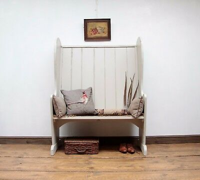 Tall Oak Tavern Pew Bench Settle, Hall Seat Painted F&B Hardwick White, delivery