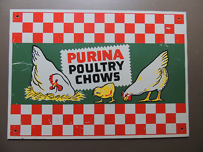 """Original 1960's Purina Poultry Chows Chicken Egg Feed Farm 14"""" Metal Sign"""