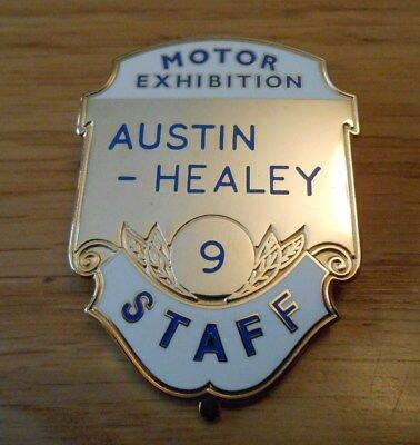 Austin Healey Motor Exhibition Numbered Staff Badge 100 Four Six 3000 Mark 1 2 3