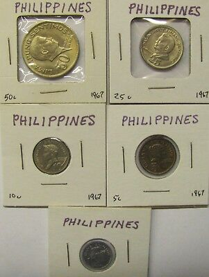 Lot of 5 Philippines Coins - 1, 5,10, 25, 50 CENTAVOS - 1967 - UNCIRCULATED