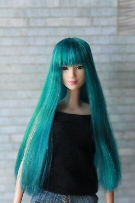 Long Blue Green wig for Barbie doll 4 inch