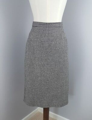 Vintage St Michael Skirt Size 12 Houndstooth Pure New Wool M&S Pencil Lined