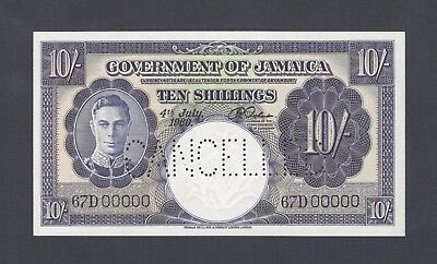 Jamaica 10 Shillings 4-7-1960 P46s Specimen Perforated About Uncirculated