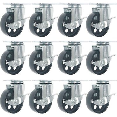 "12 All Steel Swivel Caster Wheels w Brake Lock Heavy Duty Steel (3"" with Brake)"