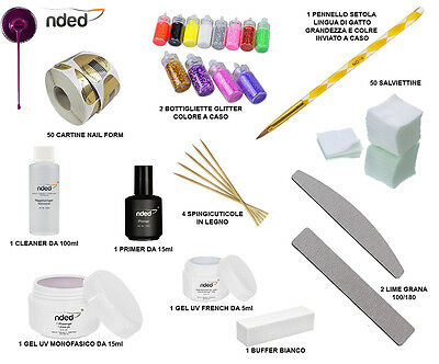 Kit Unghie Ricostruzione Completo Gel Uv Monofasico French Cleaner Primer Nded