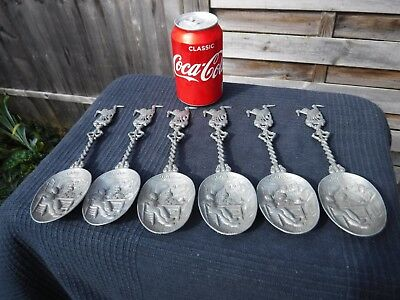 Set of 6 Dutch PEWTER SPOONS - WW1 Soldiers & Cranes on Handle - Angel Mark