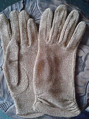 Vintage MORLEY Magnificence in Gloves gold lurex evening gloves small size 6 1/2