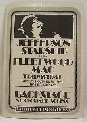 JEFFERSON STARSHIP / FLEETWOOD MAC - VINTAGE ORIGINAL 70's BACKSTAGE PASS