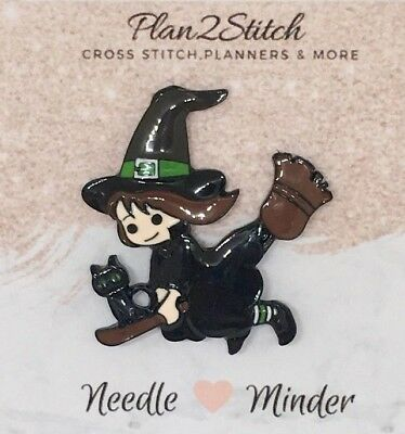 Witch Halloween Alloy Needle Minder for Cross Stitch/ Embroidery