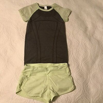 SUPER CUTE!! Ivivva For Lululemon Girls Size 8 Green/gray Active Set Outfit