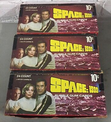 Lot Of 3 Vtg 1976 Space: 1999 Bubble Gum Trading Cards Wax Boxes  NIB