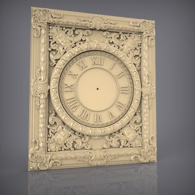 (858) STL Model Clock for CNC Router 3D Printer  Artcam Aspire Bas Relief