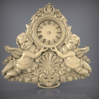 (859) STL Model Clock for CNC Router 3D Printer  Artcam Aspire Bas Relief