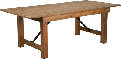 7' x 40'' Antique Wood Rustic Design Folding Dining Table with Solid Pine Top