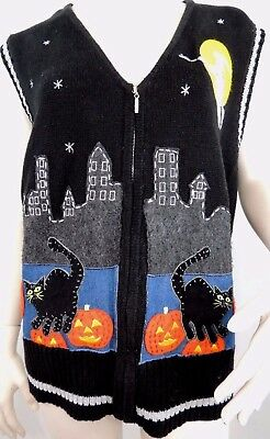 Halloween Sweater Vest Womens Black Cats Pumpkins Witch Full Zip Extra Large