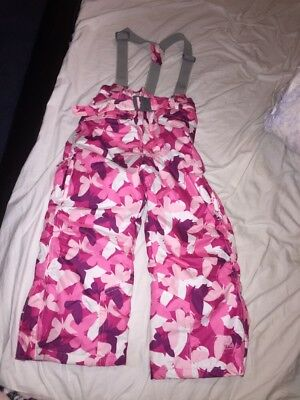 Trespass Ski Pants Trousers Girls 3/4 Salopettes Pink Butterfly £49.99