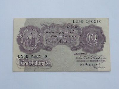 Mauve Ten Shilling English Bank Note War Issue K O Peppiatt - L25D 290210