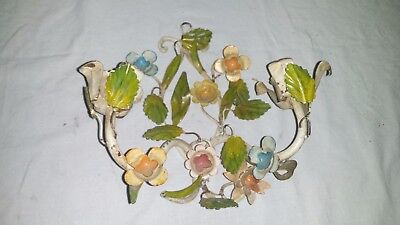 Antique Vintage Made in Italy Italian Tole Candle Sconce Flowers