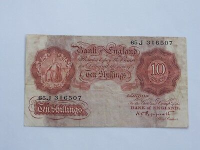 Ten Shilling English Banknote ~ Peppiatt ~ 65J316507