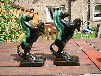Vintage Blue Mountain pottery. Rearing horses. Book ends