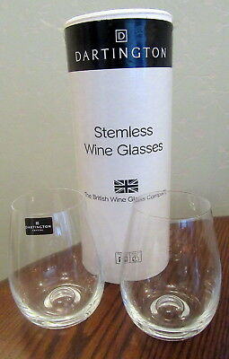 """Boxed Pair Of Dartington Crystal Stemless Wine Glasses 4-1/2"""" High"""