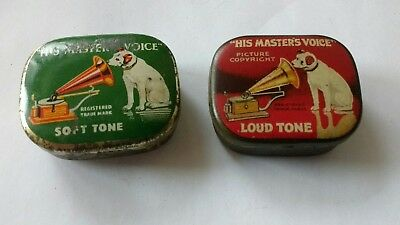 2 His Master's Voice Needle Tins And Contents