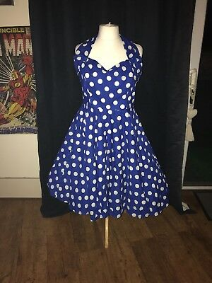 Women's Vivien Of Holloway Blue & White Polka Dot Circle 50's Dress UK Size 20