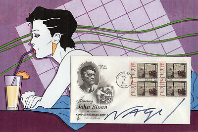 PATRICK NAGEL - Rare AUTOGRAPH on FDC - AMERICAN ARTIST - ART DECO - HAND SIGNED