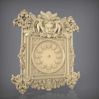 (874) STL Model Clock for CNC Router 3D Printer  Artcam Aspire Bas Relief