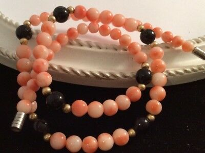 Gorgeous Vintage Real Angel Skin Coral And Black Onyx Bead Necklace