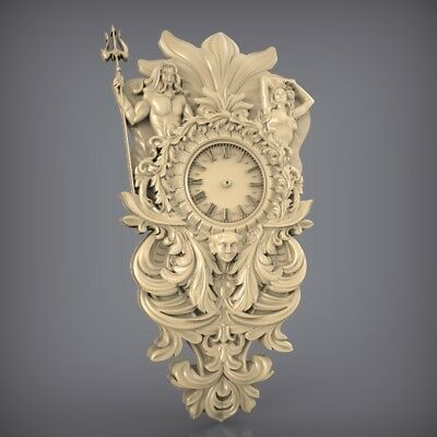 (875) STL Model Clock for CNC Router 3D Printer  Artcam Aspire Bas Relief