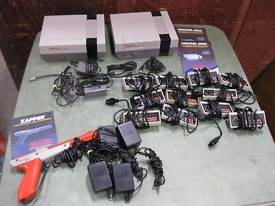 Lot of Nintendo NES Consoles Controllers Zapper AC Adapters AF Switch