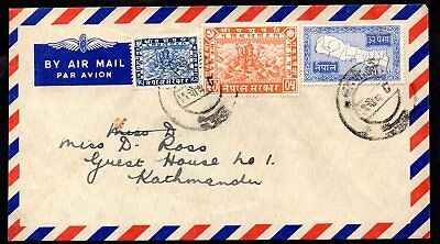 Nepal - Airmail Cover with Issues from 1907, 1949 (High Value) and 1954