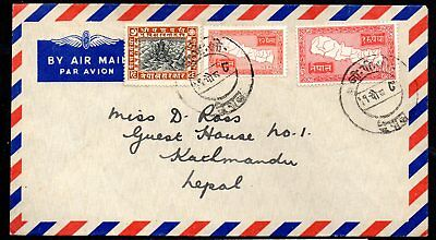 Nepal - Airmail Cover with 1907 High Value and 1954 Issues