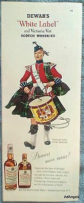 1954 White Label Whisky Traditional Tartan Clan MacIntyre Playing Drum Dewars ad