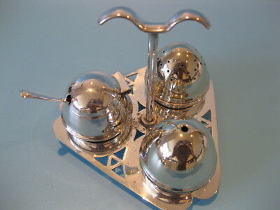 Beautiful Little Elegant Vintage Art Deco 3 Piece Silver Plated Cruet on Stand