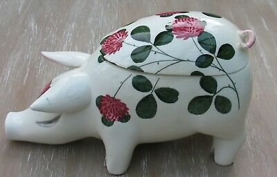"Rare Large Plichta Pig Trinket Pot With Lid Clover Decoration 9"" Across Wemyss"