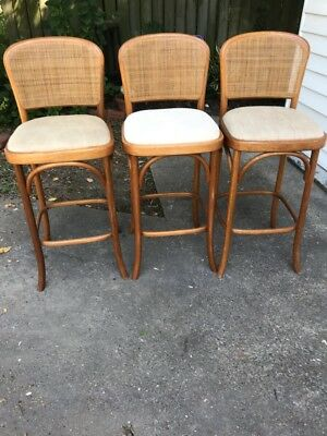 Three Bentwood Vintage Bar Stools
