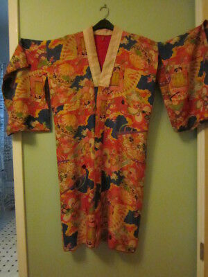 Antique Japanese Silk Hayashi Kimono Robe Floral Red Lining Made in Japan  As is