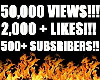 50,000 Youtube-Views | 2000+Likes  | 500+Subscribers! | Real | Fast And Safe!