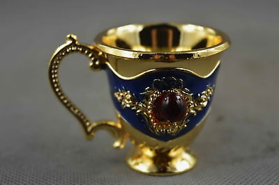 Collectable Handwork Cloisonne Carve Flower Inlay Agate Royal Noble Wine Cup