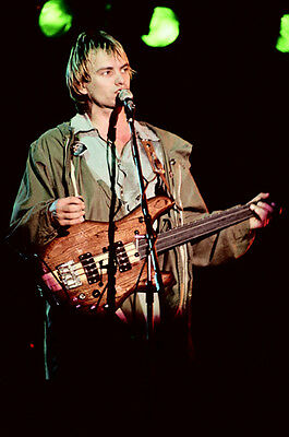 """12""""*8"""" concert photo of Sting of The Police playing at Reading in 1979"""