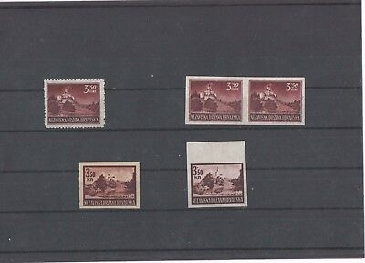 Croatia Kroatien 1943 WW2 - normal stamp, imperforated and two proofs RR $$ !
