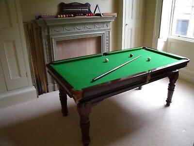 """Riley 6'6x3'5"""" Snooker or Pool Solid Mahogany Dining Table & Accessories c1930's"""