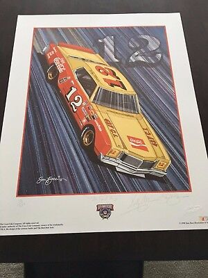 Vintage Bobby Allison Autographed Sam Bass Print The Real Thing