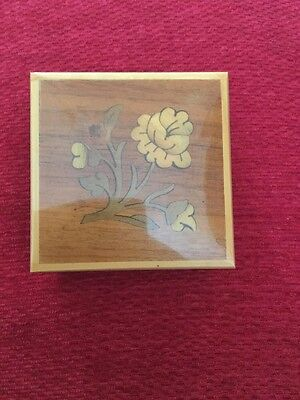 Vintage Small Marquetry Wooden Trinket Box