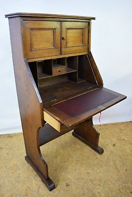 1930's Oak Bureau, Vintage Antique Students Bureau With Cupboard, Old Furniture